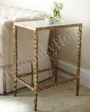 Neiman Marcus MARBLE TOP Gold Side Table Iron Leaves Horchow Unique Accent Metal