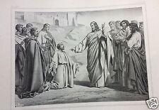 1873= CRISTO E SAN PIETRO = Antica Grande Stampa by BECQUET