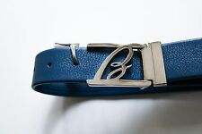 $600 NEW BRIONI Blue Soft Pebbled Leather Hand Made Belt 44 US 60 Euro 115 CM