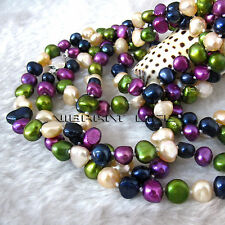 "50"" 6-8mm Multi Color Baroque Freshwater Pearl Necklace M11 UK"
