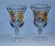 "Vintage Hand Painted Wine/Parfait Glasses - 8"" Tall - Grapes & Leaves - Set of 2"