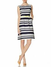 nwt the limited striped belted dress fit and flare 2 blue white knee length