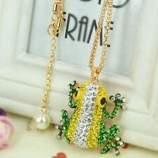 HU Frog Sweater Bead Necklace Rhinestone Crystal Pendant Chain Party Lover Gift