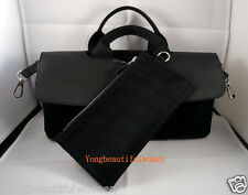 AUTH HERMES EXCELLENT CANVAS LEATHER Val Paraiso Long PM HAND BAG BLACK SILVER