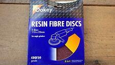 5x EAC OAKEY RÉSINE FIBRE DISQUES POUR MEULEUSE ANGLE 115x22 mm GROS ALUMINIUM