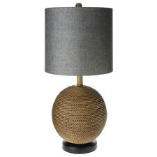 Mudhut Rope Textured Sphere Table Lamp with Gray Linen Shade