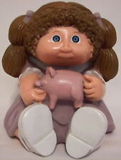 Vtg Cabbage Patch Kid Piggy Bank Plastic Doll Star Power Brown Hair with Plug