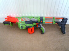 NERF GUN VORTEX PRAXIS WITH CARTRIDGE & REMOVEABLE STOCK  & 7 DISC BULLETS