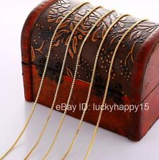 Bulk Wholesale Lots 5pc 1mm Gold Filled Fashion Womens Box Chains Necklace 18""