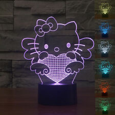 7colors Change 3D LED bulbing illusion Bedroom nightLight Desk Lamp Hello kitty