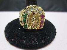 SIZE 12, 14 KT GOLD PLATED MENS LUCKY RELIGIOUS VIRGIN MARY 3 COLOR CZ RING