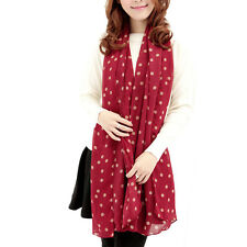 New Women Stylish Girl Long Soft Silk Chiffon Scarf Wrap Polka Dot Shawl Scarve