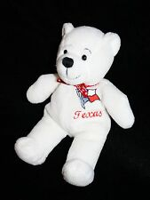 "Symbolz TEDDY BEAR 8"" White Plush Texas 2001 The Lone Star State Red Bow Stuffed"