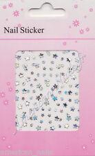 Bijoux ongle Stickers autocollant Argent Holographique Nail Art Petites Fleurs