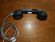 VINTAGE PHONE BOOTH RECEIVER BLACK, ORIG. METAL CORD & WIRING, NEW OLD STOCK