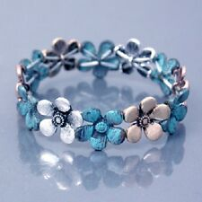 CUTE SILVER TURQUOISE BLUE PATINA FLOWER FLORAL STRETCH BRACELET FREE SHIPPING