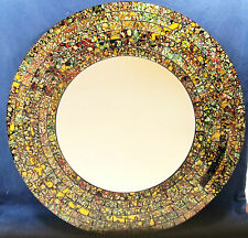 "Mosaic Glass wall mount Mirror ""Gold Splash"" home decor 930"