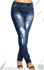 NEW Plus Size Womens Indigo Blue Skinny Stretch Jeans Ripped Slim 16 18 20 22 24