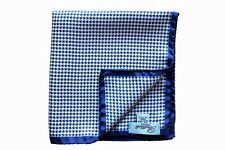 Battisti Pocket Square White & royal blue check, pure silk