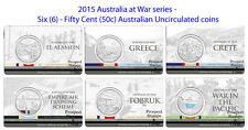 2015 Australia at War series - Six (6) Fifty Cent (50c) Australian UNC coins