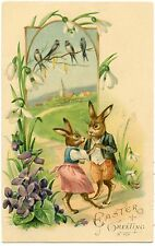 LAPINS HUMANISéS. HUMANIZED RABBITS. HIRONDELLES. SWALLOWS. EMBOSSED. GAUFRé