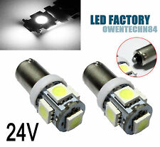 2X Ba9s BA9 H6W Bright White 5SMD Car LED License Plate Map Dome Light 24V #OkG