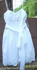 B Smart White Eyelet lace Trim Prairie Dress Baby Doll Mini Sz 4 Wedding