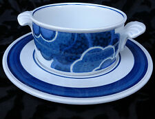 VILLEROY & BOSH BLUE CLOUD 4 SETS OF SOUP / CREAM BOWL WITH SAUCER GERMANY. EXC.