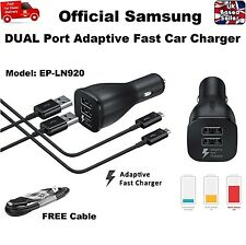 Genuine DUAL PORT Fast Car Charger for Samsung S6 S7 Edge NOTE 4 5 + USB Cable