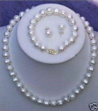 """Hot 7-8mm Real White Cultured Pearl Necklace Bracelet Earring Set 18""""+7.5"""""""