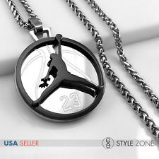 MEN Stainless Steel Jordan # 23 & JUMPMAN Logo Pendant Braid Necklace Black 13F