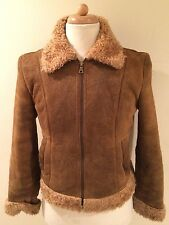Rare GUESS LEATHER Motorcycle B-3 BOMBER Sherpa Lined COAT JACKET Women's Sz M