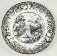 """ROYAL STAFFORD~BLACK & WHITE~HAYRIDE 8""""  EARTHENWARE SALAD PLATE~ EXC COND"""