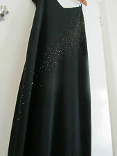 Vintage 80s Black Evening Maxi Dress - Size 16 - Dorothy Perkins - Bronze beads