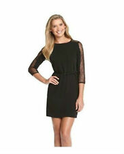 NEW Calvin Klein/ Black/ Size 6/ Lace Illusion 3/4 Sleeve/ Belted Chiffon Dress