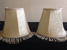 2-HALF - SHADES FOR WALL SCONCES FABRIC WITH SATIN LINING & BEADED TASSELS USED