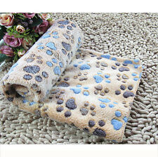 Warm Pet Mat Small Large Paw Print Cat Dog Puppy Fleece Soft Blanket Coffee S