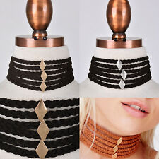 Western Gothic Wide Band Suede Choker Rhombus Gold Metal Chain NECKLACE Earrings