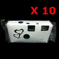 10 x 36exp HEARTS DISPOSABLE WEDDING Bridal CAMERA WITH FLASH