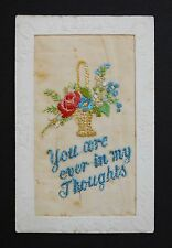 WW1 Silk Postcard You Are Ever In My Thoughts Cooling Street Cliffe Kent Tuck