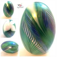 Vintage Green Iridescent Art Glass PULLED FEATHER EGG Paperweight SCULPTURE 3""