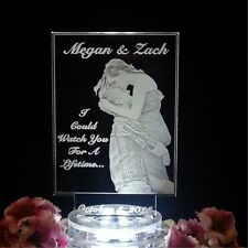 Personalized Photograph Lighted Wedding Cake Topper Custom Acrylic Top Engraved