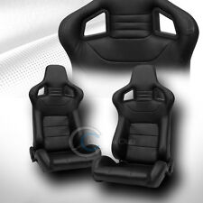 2X UNIVERSAL MU BLK STITCH PVC LEATHER RECLINABLE RACING BUCKET SEATS+SLIDER C06