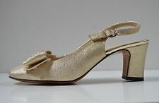 GÖRTZ Damen Slingbacks Pumps NOS 70er True Vintage 80s Sandalen gold block heel