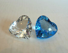 TWO (2) SWAROVSKI CRYSTAL SCS 1996 CLEAR HEART and 1997 BLUE HEART FIGURINES