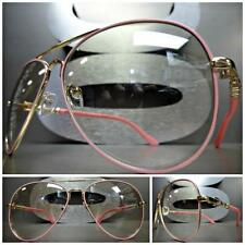 VINTAGE AVIATOR Style SUN GLASSES Gold & Pink Frame Clear Lens with Slight Tint