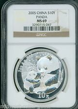 2005 PANDA SILVER COIN 1 Oz. 10Y 10-Yuan 10-Yn CHINA NGC MS69