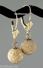 "1""Solid 14K Yellow Gold Leverback 8mm Ball Earrings SPARKLNG Laser Cut Stardust"