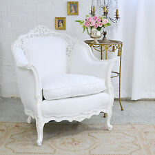 Shabby Cottage Chic White Linen Ornate Bergere Chair Armchair French Style