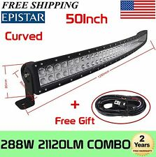 50inch Curved Off Road 288W LED Lamp Work Light Bar SUV Jeep 4WD 4X4 +Wiring kit